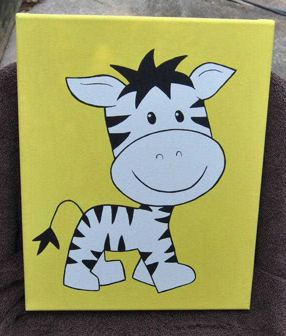 Nursery Baby Zebra Painting Artwork Boys Girls Baby Decor Wall Art ...