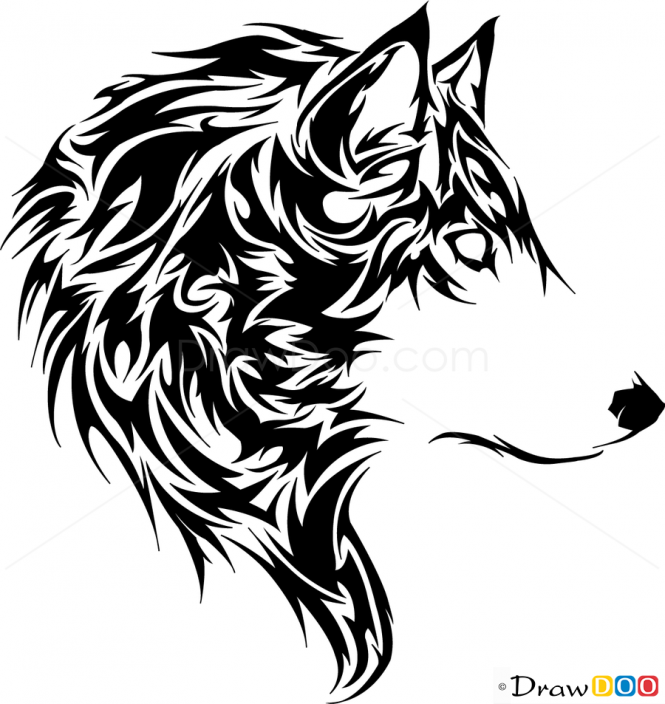 Wolf Drawings Wild Animals Step By Step Drawing Tribal Wolf Tribal Wolf Tattoo Tribal Animal Tattoos