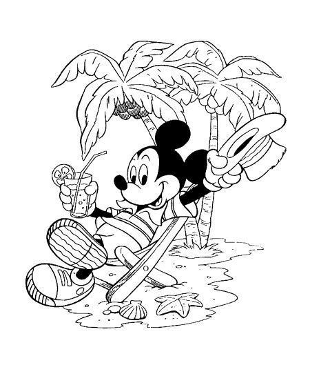 Coloriage Mickey Plage Fleurs Flowers Mickey Coloring Pages