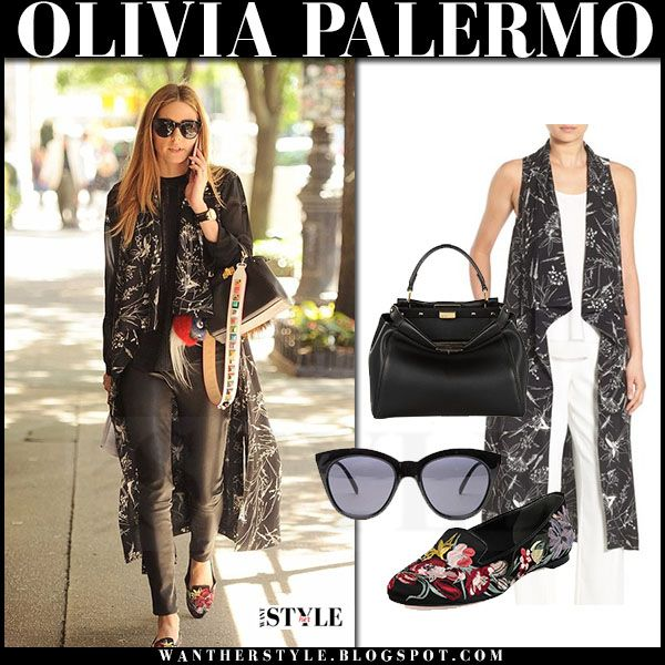 Olivia Palermo in black floral print sleeveless vest, black leather pants and floral loafers