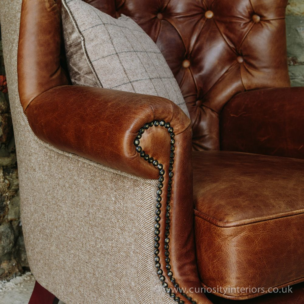 Tudor Leather Armchair With Chesterfield Style Button Back Detail U0026 Tweed  Wool Fabric Elements