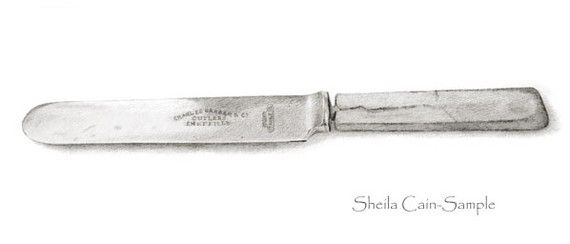 Graphite Drawing Of Grandma S Butter Knife From Her Wedding Set Graphite Drawings Knife Drawing Knife