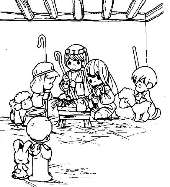 a precious moments christmas coloring page for the boys