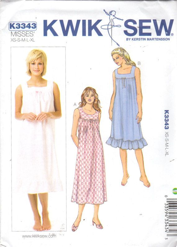 2254811cc5 Kwik Sew 3343 Misses Nightgown Pattern Scoop or Square Neckline Easy ...