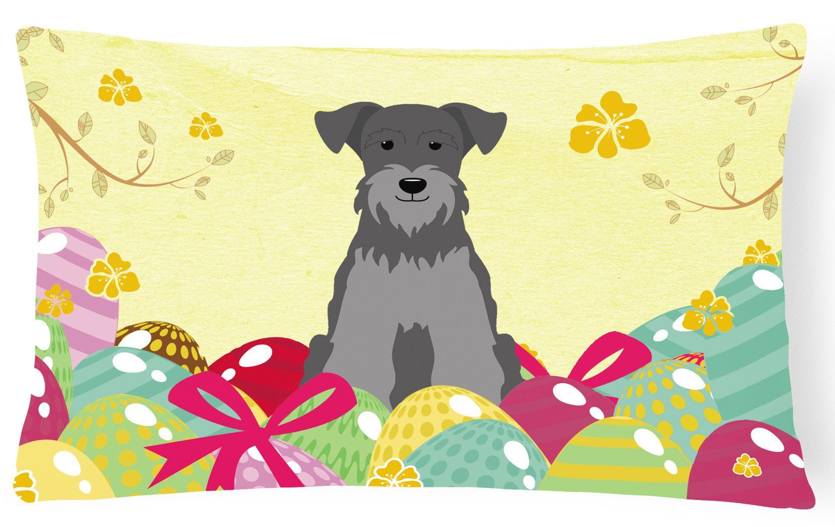 Easter Eggs Miniature Schanuzer Black Silver Canvas Fabric Decorative Pillow BB6052PW1216