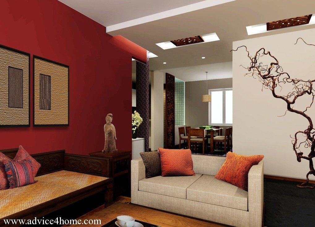 White false pop ceiling and red wall design in living room for Living area decoration