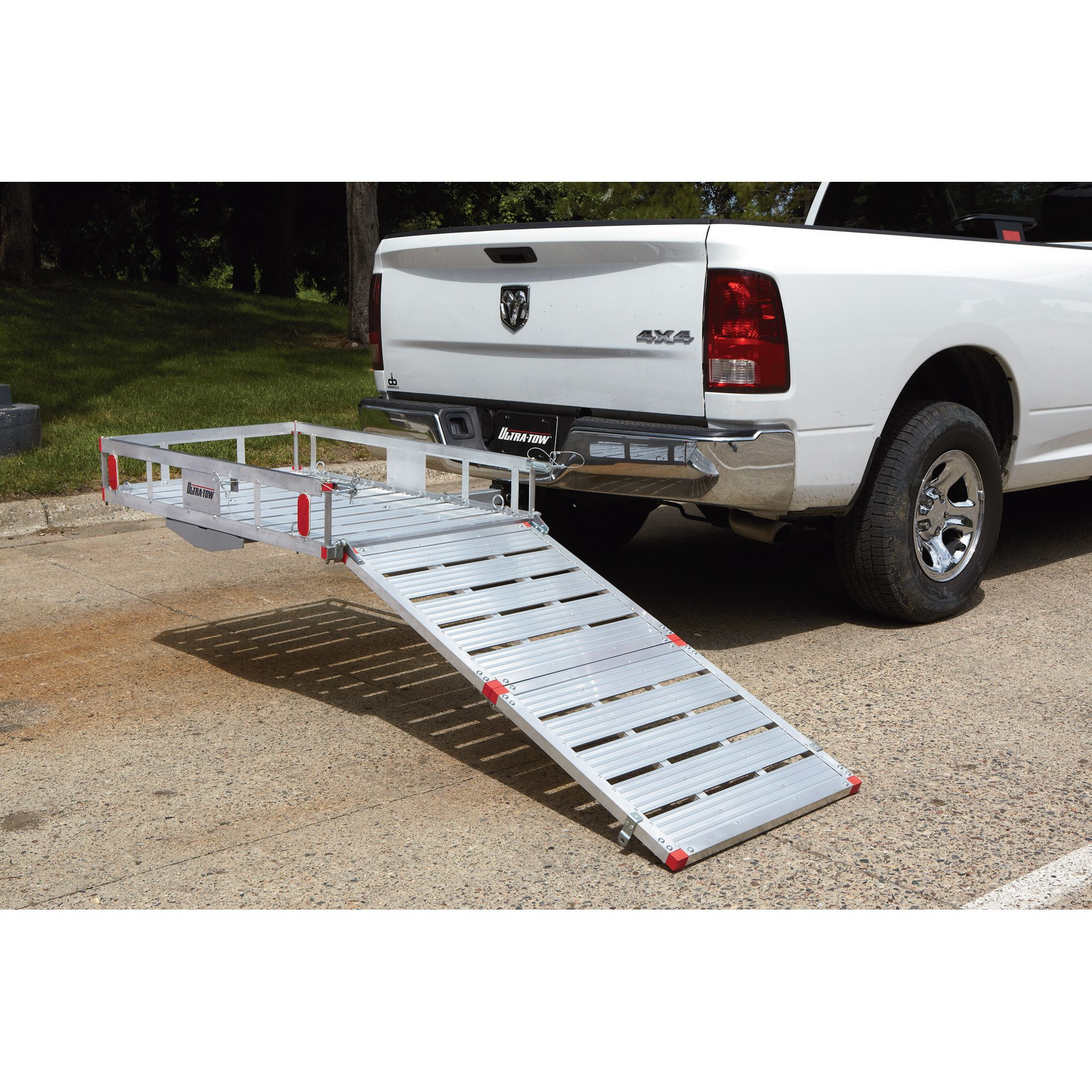 575d9307ae Ultra-Tow aluminum cargo carrier platform provides extra cargo space on the  exterior of your vehicle with a 49in.L x 26in.W drop-down ramp that makes  it ...
