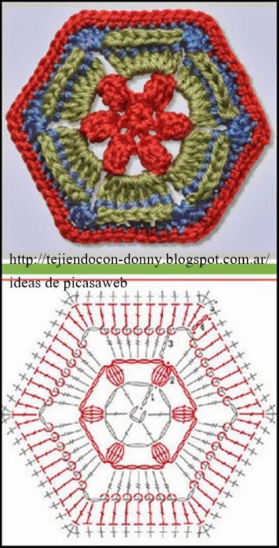 Crochet ganchillo patrones graficos hex gonos - Patrones de mantas a crochet ...