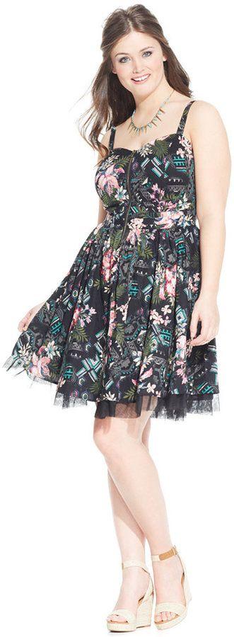 American Rag Plus Size Half Zip Printed Flare Dress Plus Size