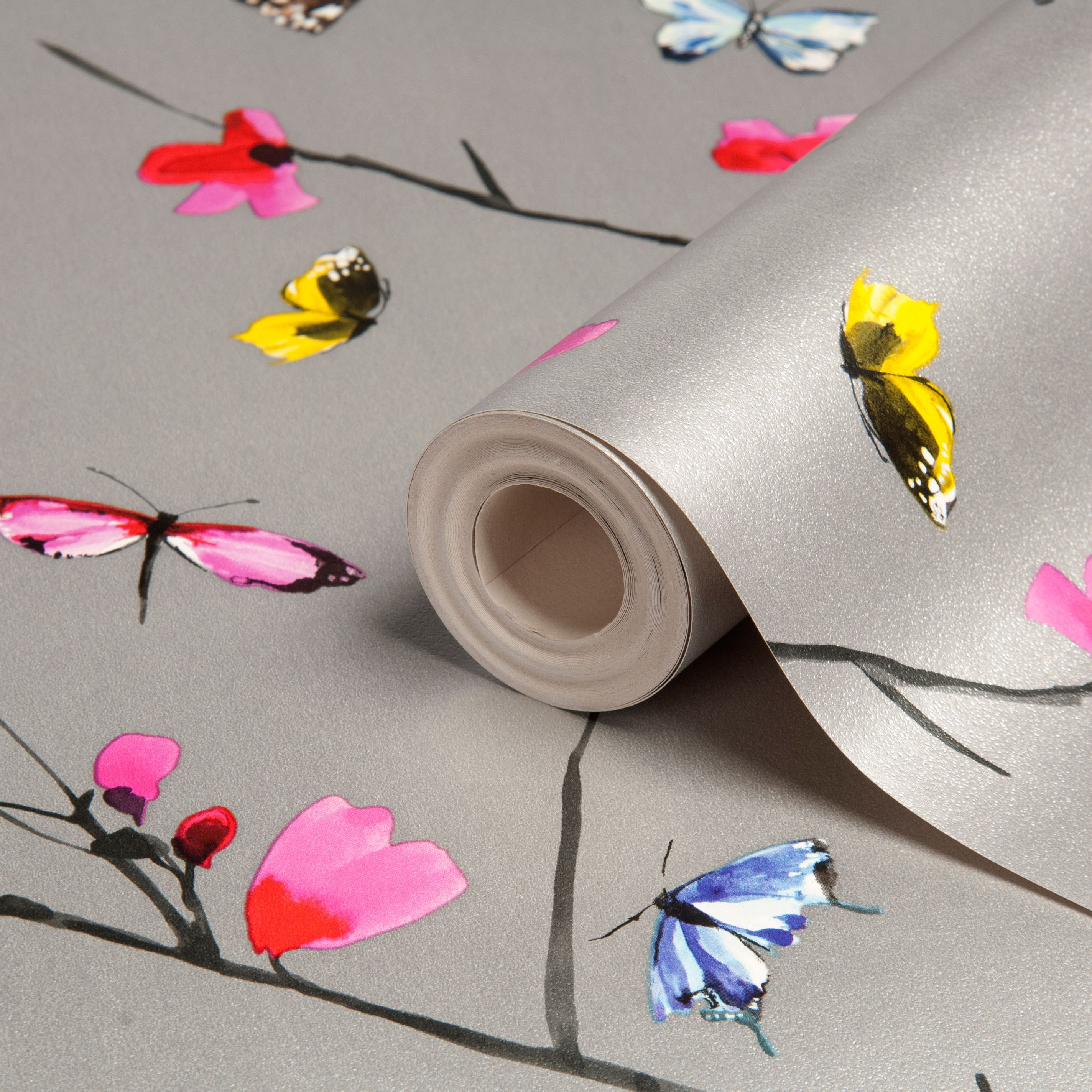 Statement Mazarine Silver effect Butterflies Metallic Wallpaper