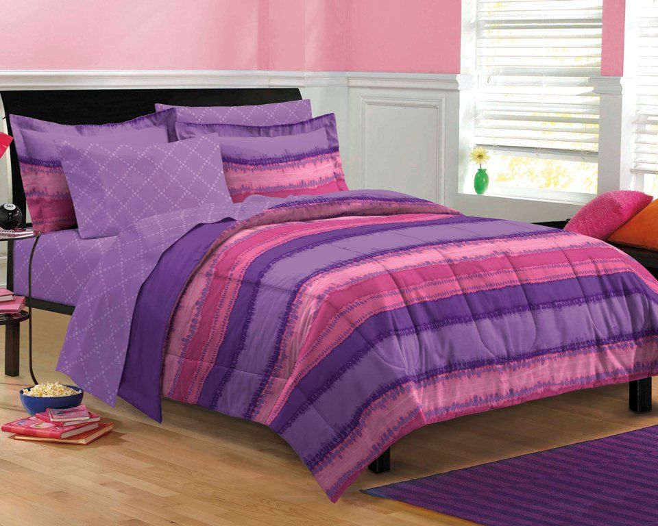 Purple Pink Teen Girl Bedding Tie Dye Twin XL Full Queen Bed In A Bag D