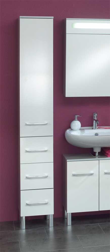 Hochschrank für Badezimmer Weiß-Grau Jetzt bestellen unter