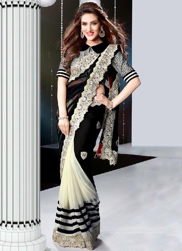 Saree black and white dresses