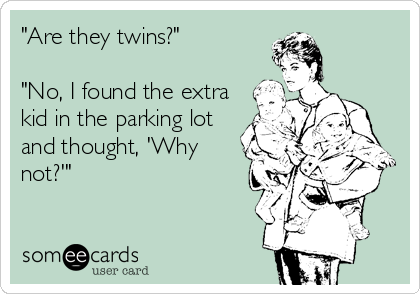 Are They Twins No I Found The Extra Kid In The Parking Lot And Thought Why Not Funny Funny Quotes Ecards Funny