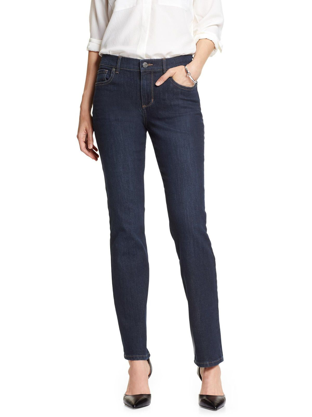 6fc5b63b10613 6336-2 Banana Republic Womens Dark Blue Rinse Straight Leg Jeans Sz 29 / 8  $70