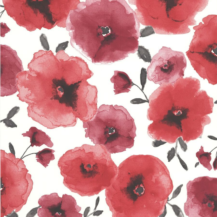 Superfresco Easy Red Paper Floral Wallpaper Lowes Com Poppy Wallpaper Red Wallpaper Flower Wallpaper