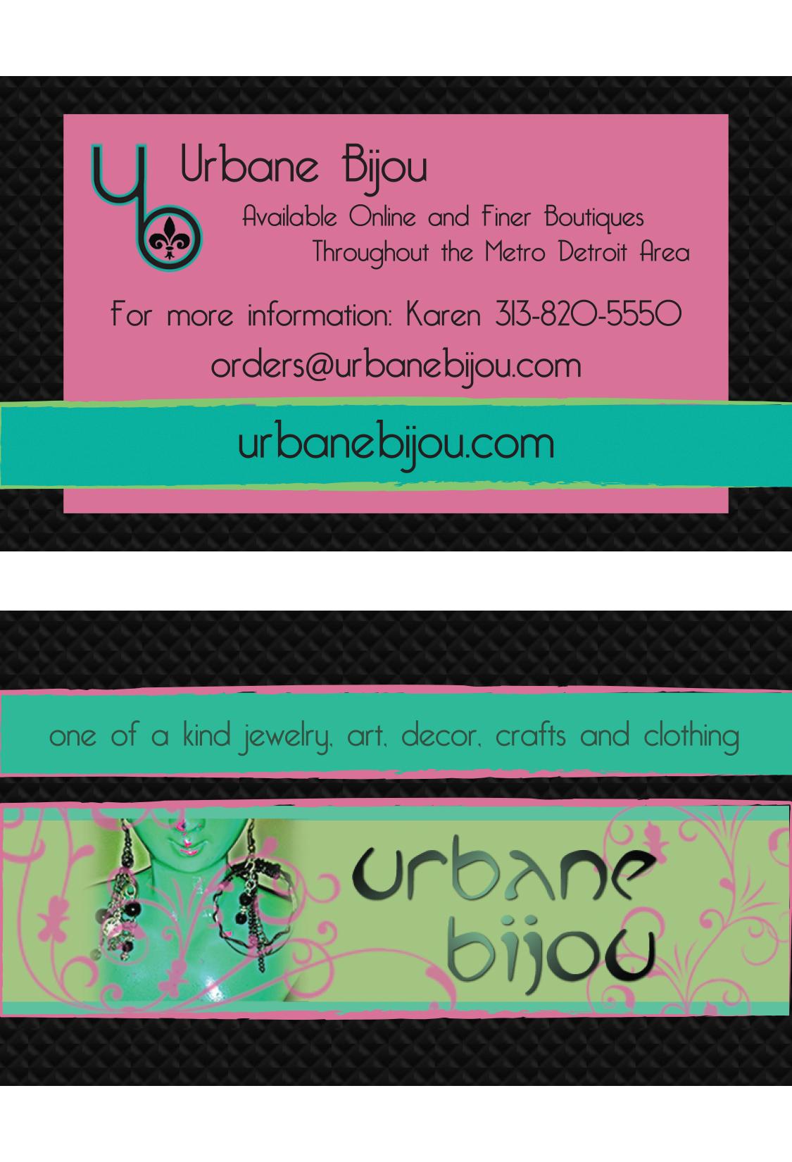 Business card URBANE BIJOU One of A kind art, jewelry, decor ...