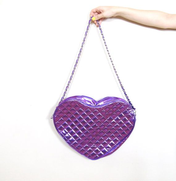 90s Kawaii Heart Shaped Purse Metallic Purple by honeymoonmuse, $65.00