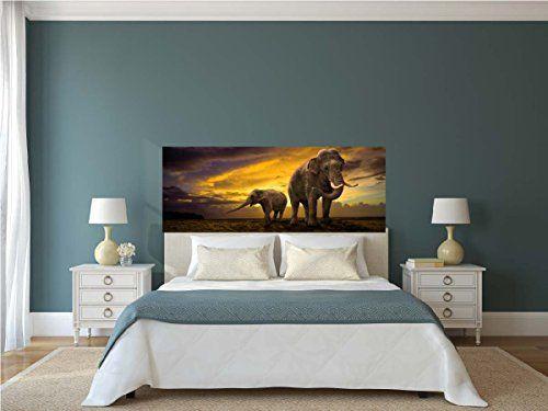 sticker autocollant t te de lit elephant savane satdl09. Black Bedroom Furniture Sets. Home Design Ideas
