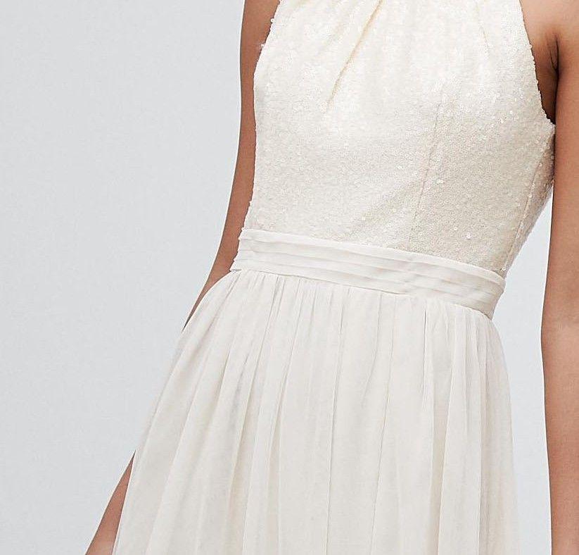 84841816953 Little Mistress sequin high neck maxi dress in cream in 2019 ...