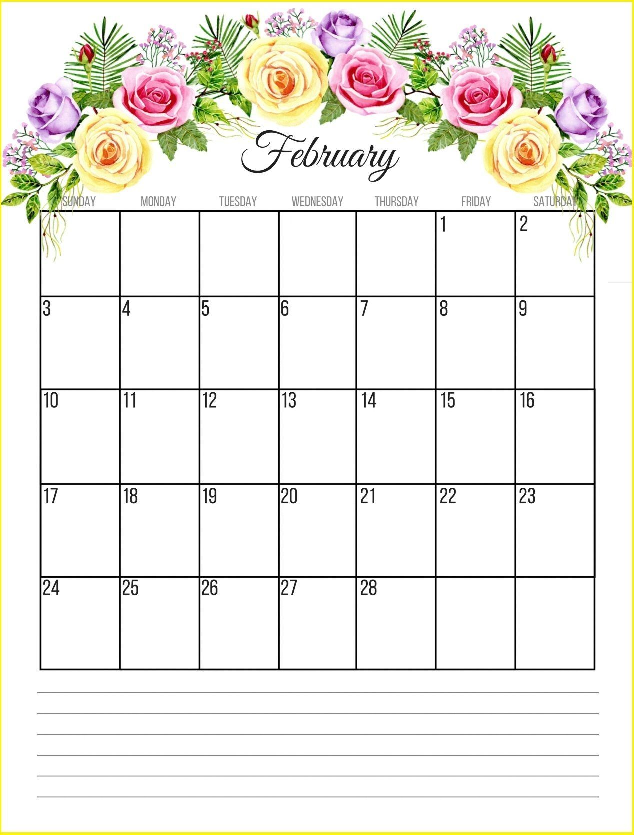 Floral February 2019 Calendar Monthly Templates Free Download