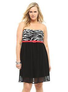 d266a69758 Torrid Women's Black & White Zebra Print Strapless Dress Plus Size 4x.