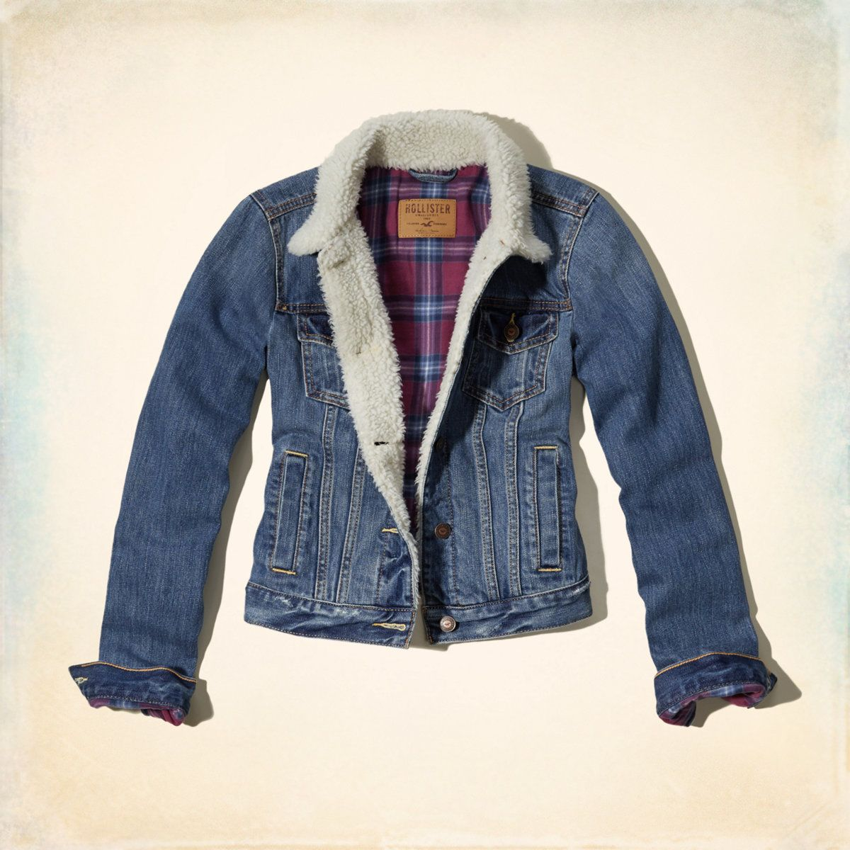 Hollister Classic Fit Denim Jacket Lined Denim Jacket Fitted Denim Jacket Girls Jacket [ 1200 x 1200 Pixel ]