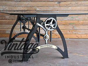 Details about IndustriaLux Crank Table/Hollywood Regency meets Vintage Industrial #vintageindustrialfurniture