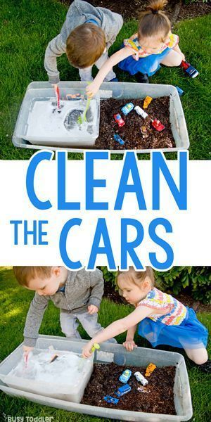 Photo of Clean the Cars: Summer Outdoor Sensory Bin – Busy Toddler
