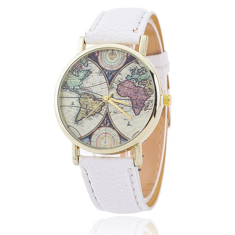 World map womens watch products wear the world on your wrist with this adorable watch with 5 stylish colour choices this watch features a large face with a vintage world map background gumiabroncs Gallery