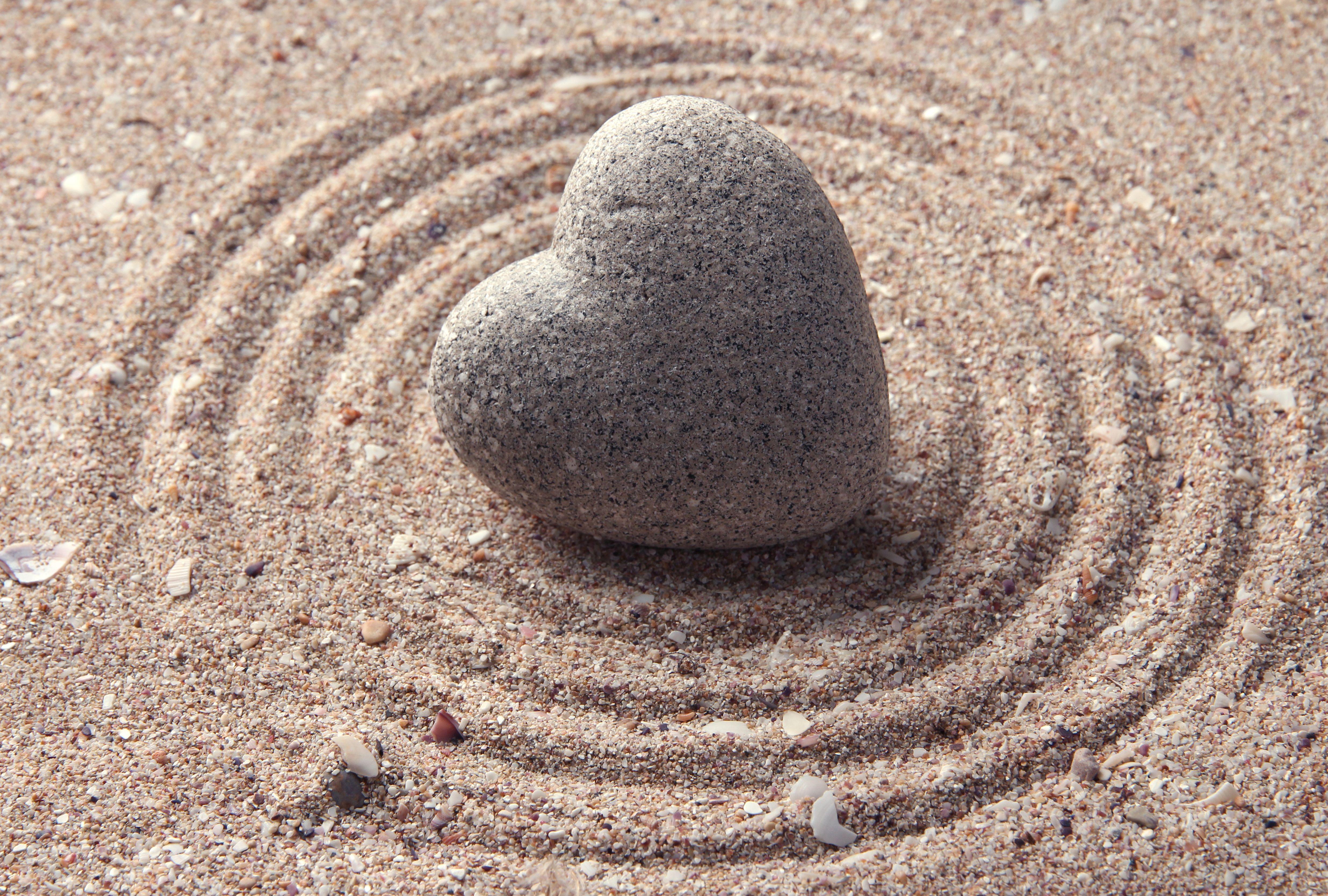 Zen Stone Heart Shaped on Sand HD Wallpaper|Love ...
