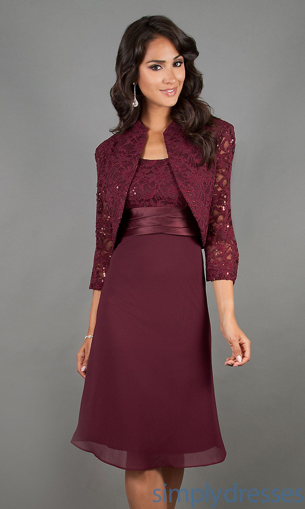 Knee Length Mother of the Bride Dress with Jacket- Simply Dresses ...