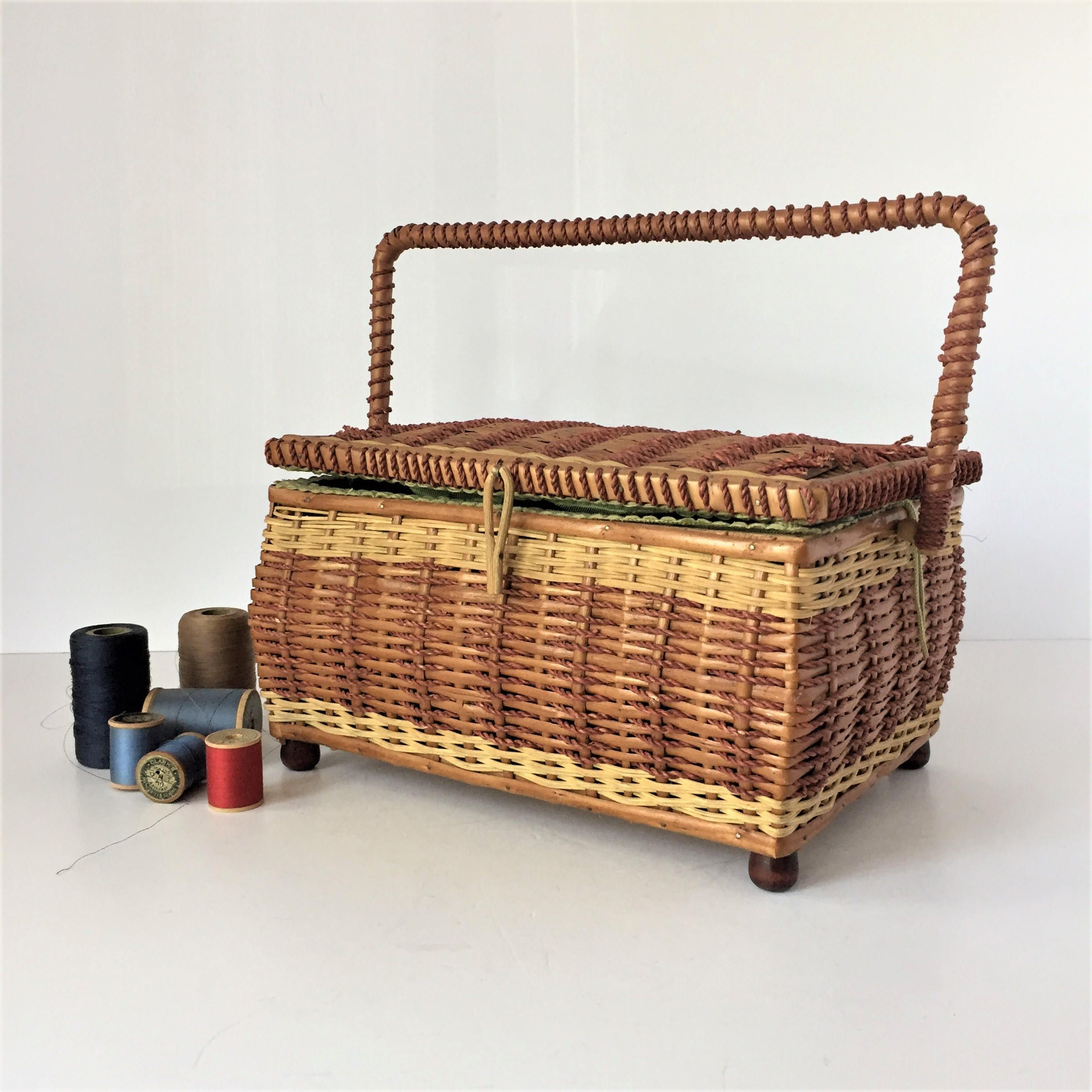 Vintage Sewing Basket, Wicker Sewing Box With Tray, Woven Basket