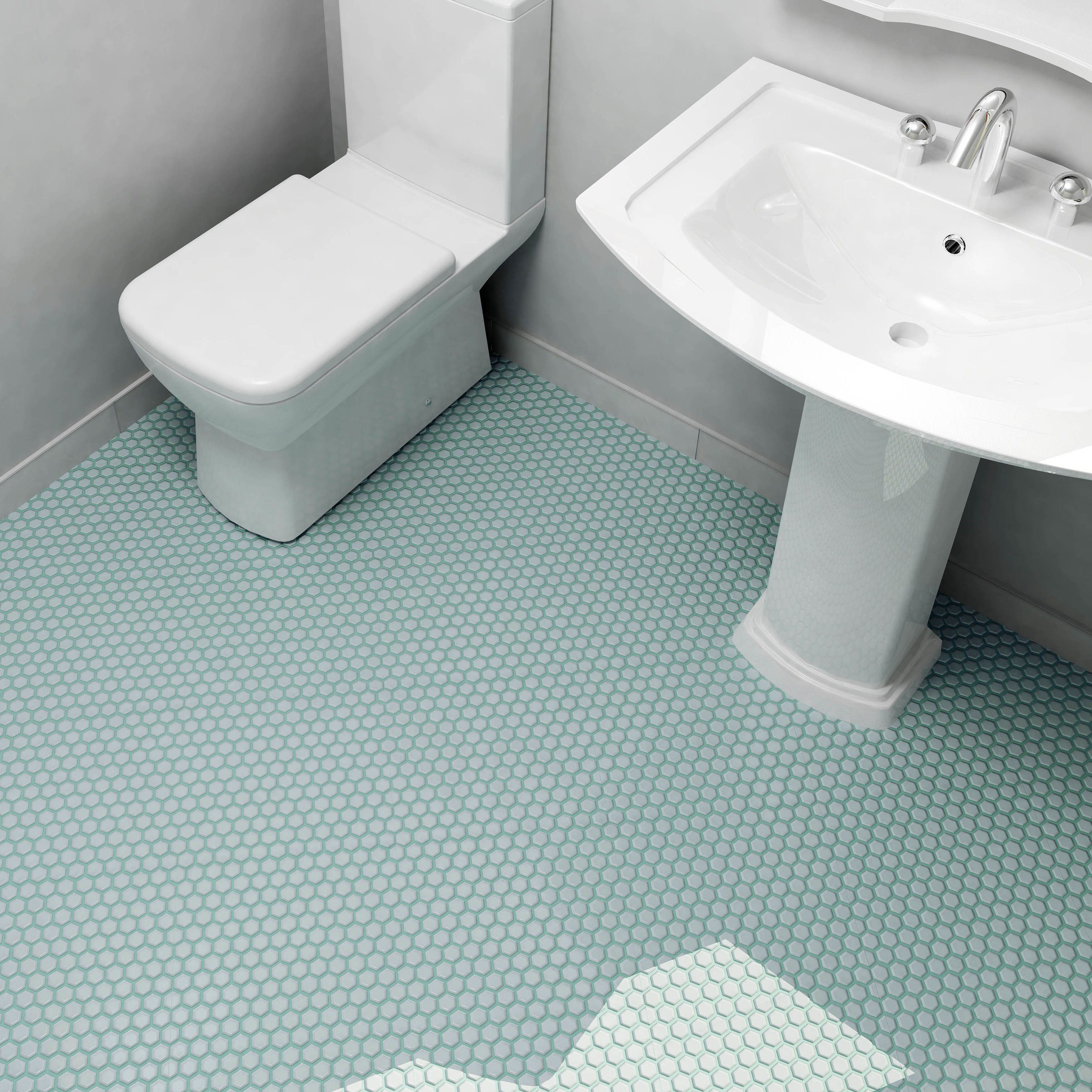 "EliteTile Retro Hexagon 0.875"" x 0.875"" Porcelain Mosaic Tile in Matte Light Blue"
