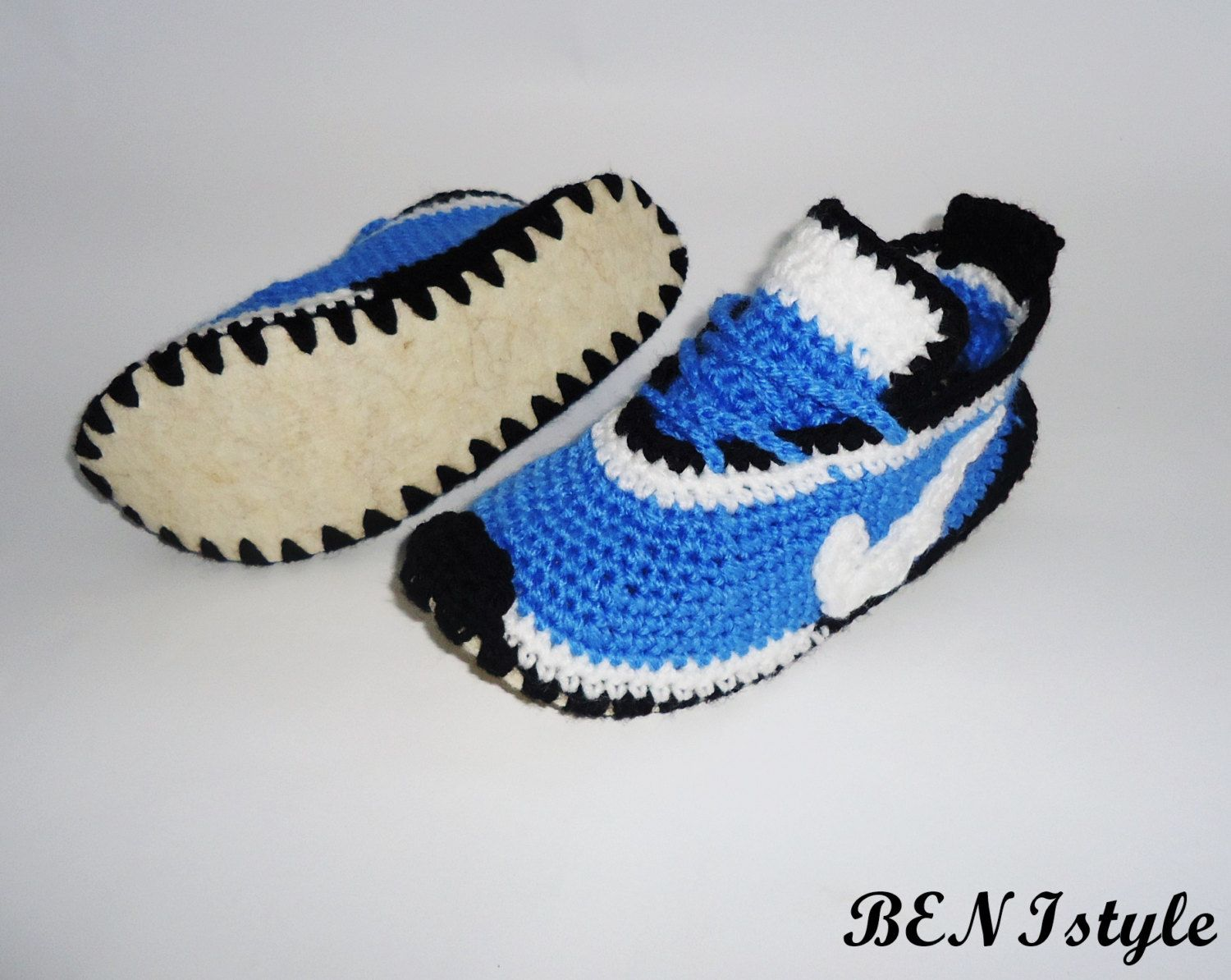 Adult Sneakers, Crochet Shoes, Crochet Blue Shoes, House Slippers, Crochet  Nike Sneakers, Home Shoes, Blue House Sneakers, Warm Shoes