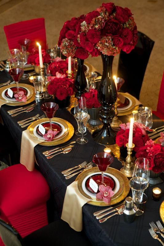 Elegant Wedding Reception Ideas, Table Decorations, Black, Red, Gold (Love The Black  Table Cloth With Gold Decorations) Part 27