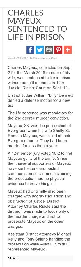 Shelly Mayeux\u0027s manner of death is UNDETERMINED as shown in this - Forensic Report
