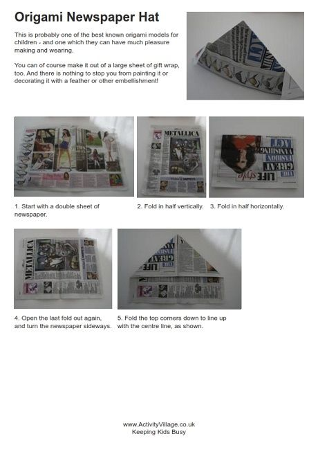 First Day Make Quickly And Turn Into Name Hats Origami Newspaper