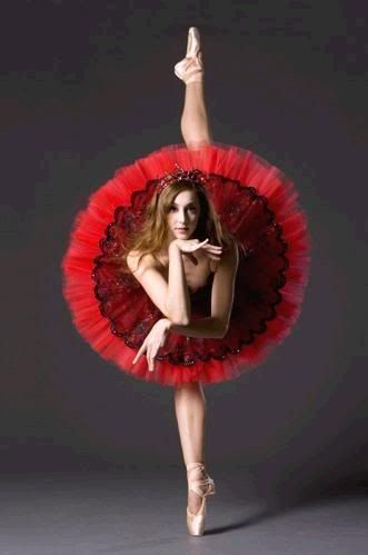 Red tutu, pink legs, dainty hands