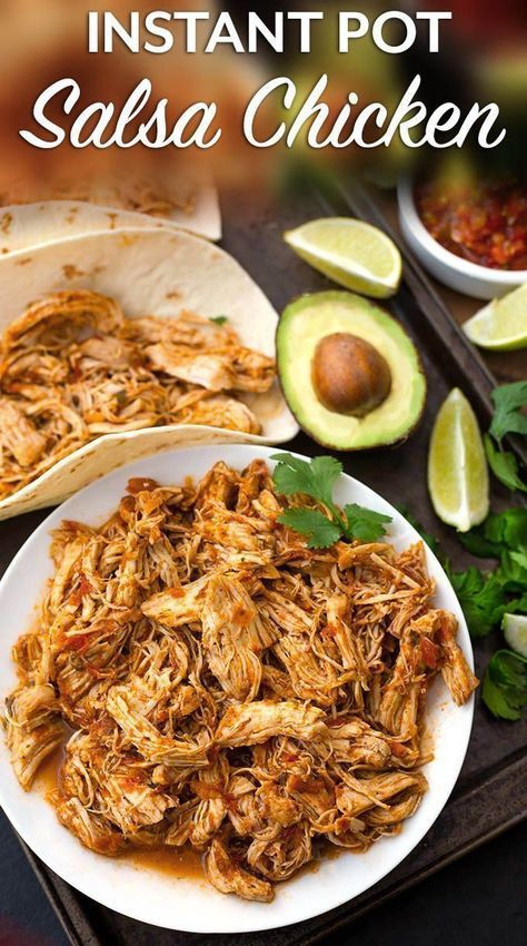 Instant Pot Salsa Chicken is Mexican flavored shredded chicken breast that you can use for tacos, burrito bowls, and casseroles. Lots of flavor, and this pressure cooker shredded chicken is so useful! simplyhappyfoodie.com #instantpotrecipes #instantpotsa #mexicanchickentacos