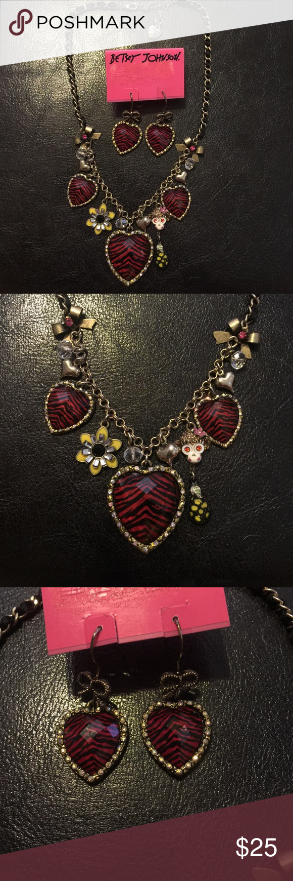 Betsey Johnson Safari necklace and earring set EUC matching Betsey Johnson safari necklace and earring set, with pink zebra print hearts. Necklace has monkey and flower accents. Betsey Johnson Jewelry