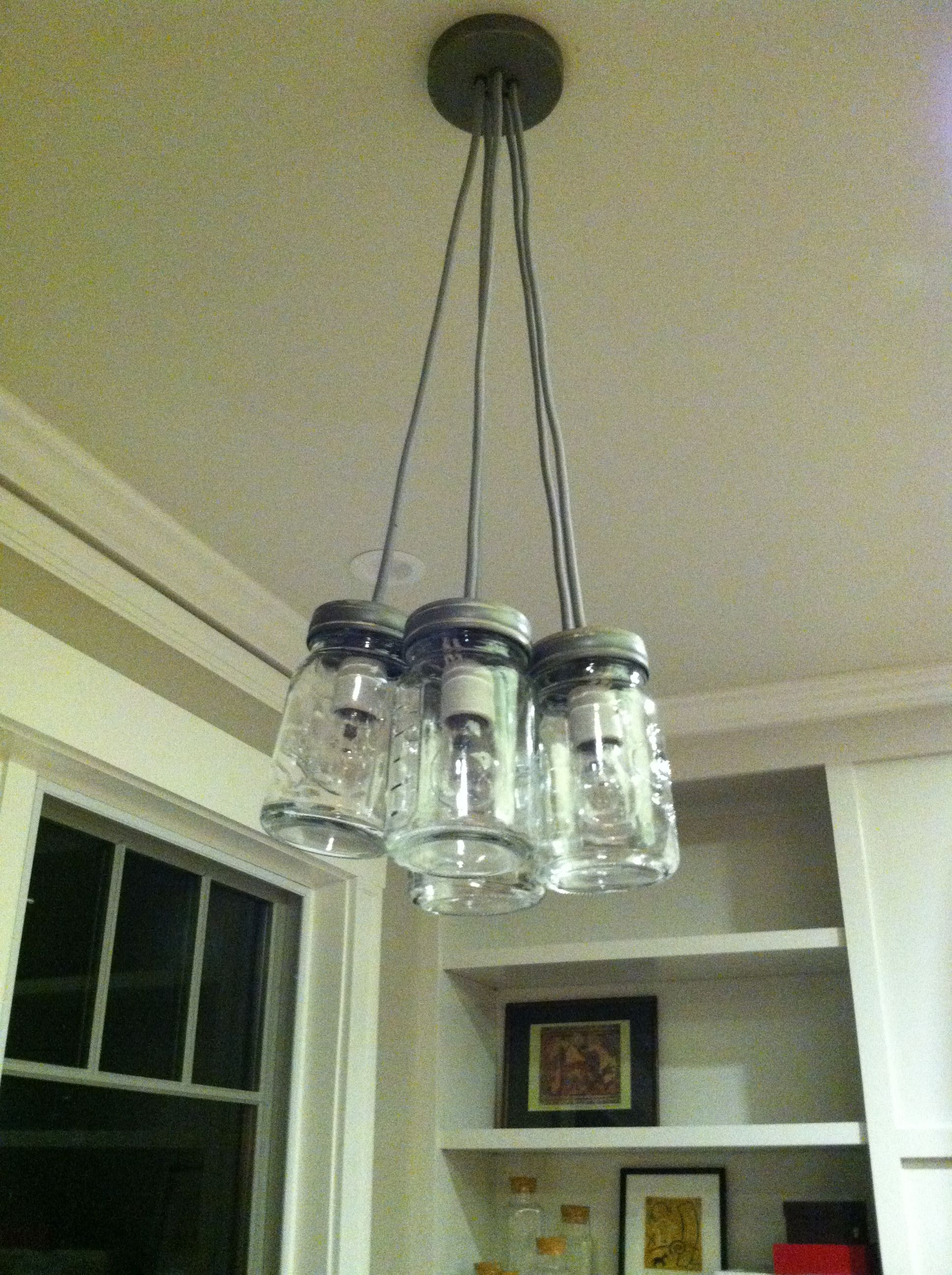 mason jar light fixture from pottery barn but could diy. Black Bedroom Furniture Sets. Home Design Ideas