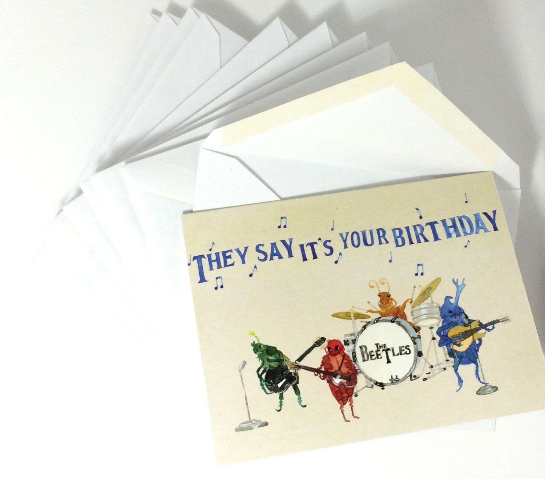 Beatles greeting cards with envelopes beatles watercolor note cards pack of 10 beetlesbeatles greeting cards with envelopes 10 pack watercolor funny bug kristyandbryce Images