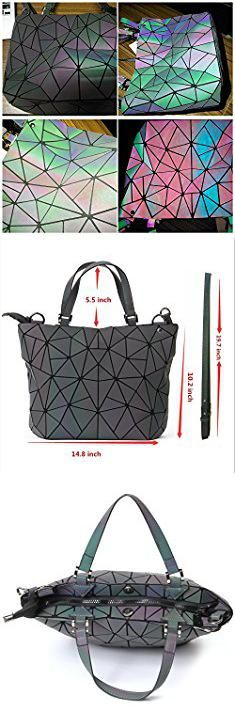 Kleidung & Accessoires Shard Lattice Design Geometric Bag Pu Leather Unique Purses And Handbags Luminou