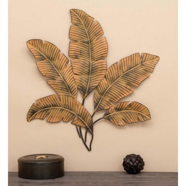 Litton Lane 34 In X 35 In Iron Palm Leaves Wall Decor 97920 The Home Depot Tropical Wall Decor Metal Tree Wall Art Metal Tree