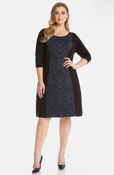 Karen Kane Jacquard Panel Jersey Shift Dress (Plus Size) available at #Nordstrom