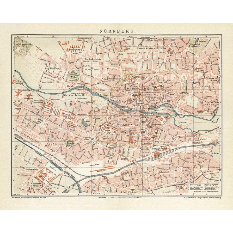 Nrnberg Vintage City Plan Antique maps Vintage maps and City print