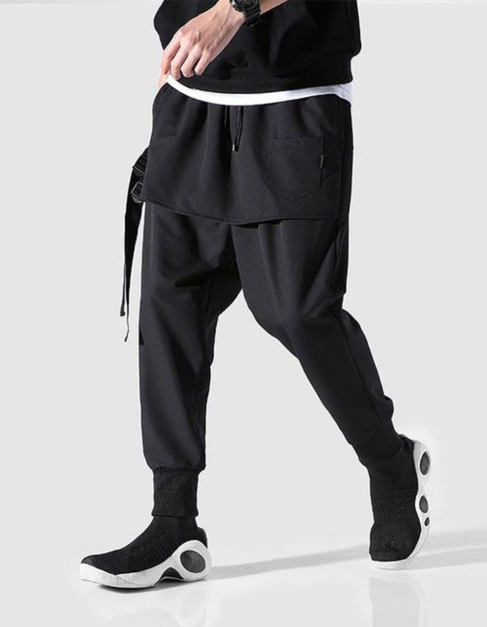 313a4423bca936 Drop Crotch Joggers Sirwal in Black | pakaian muslim in 2019 | Harem ...