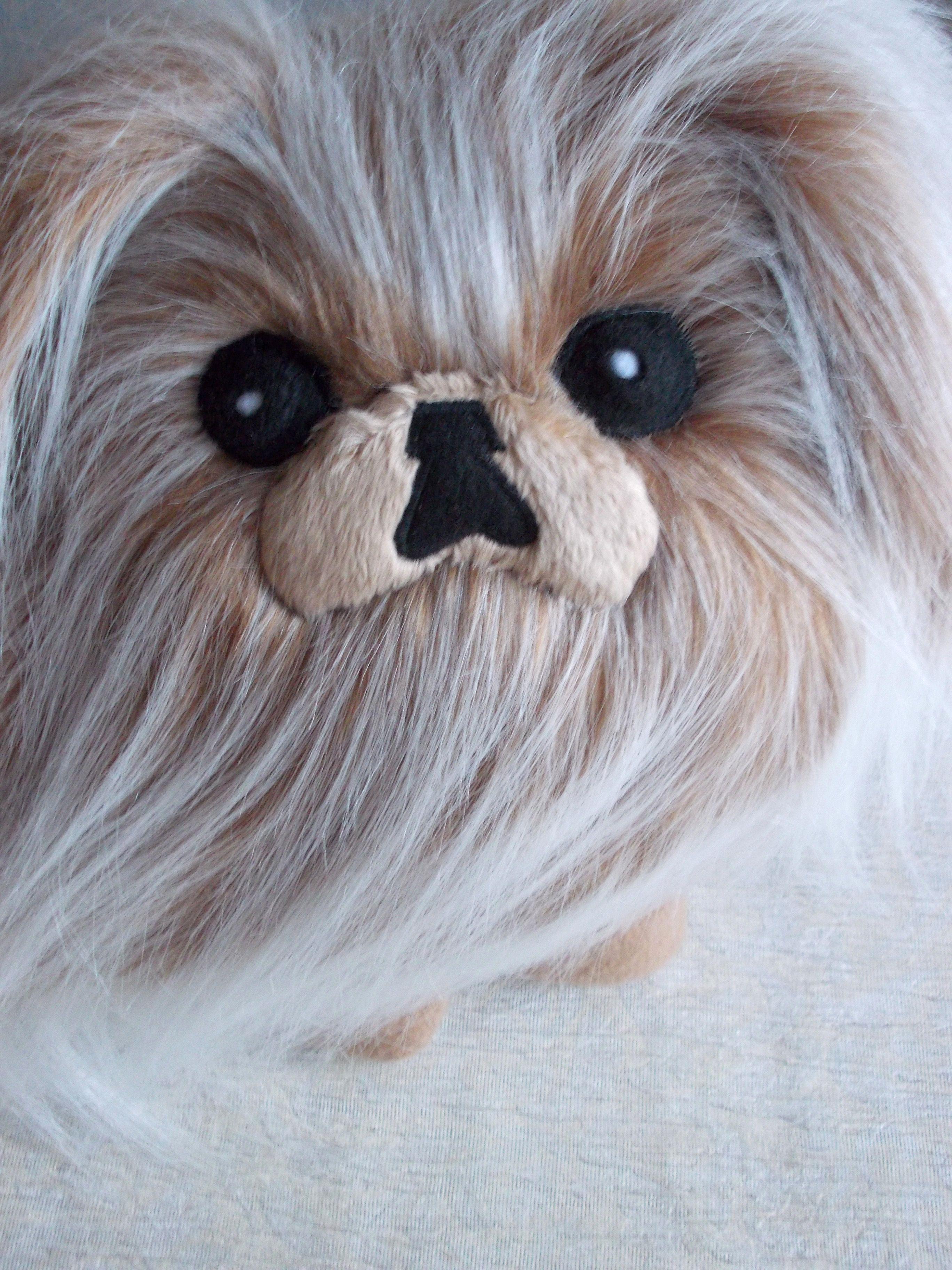 fur animal plush dog fluffy fur dog small dog Pekingese beige pekingese plush pekingese Pekingese dog children/'s toy
