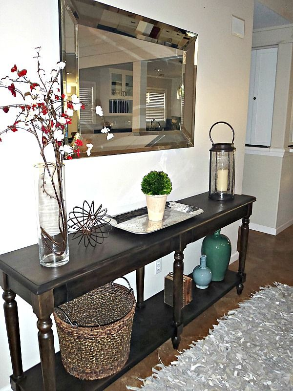 Transformation Of The Everett Foyer Console Table With Minwax Ebony Stain Stained Table Console Table Decorating Home Decor